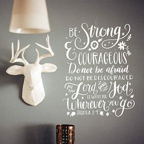 Waldenn BE Strong Courageous Joshua 1:9 Vinyl Wall Decal Decor Words Decor Religious   Model DCR - 1421
