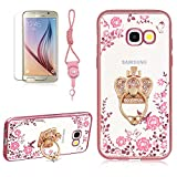 Crown Stand Ring Case For Samsung Galaxy A5 2017(A520), Girlyard [Secret Garden] Electroplate Case Shiny Bling Glitter Butterfly Case Pink Floral Embossed Cover Crystal Clear Back Case, Rose Gold Edge