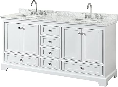 Wyndham Collection Deborah 72 Inch Double Bathroom Vanity In White White Carrara Marble Countertop Undermount Square Sinks And No Mirror Amazon Com