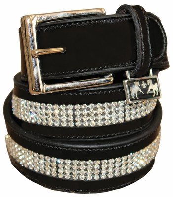 Equine Couture Bling Leather Belt 26 Black