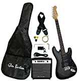 Glen Burton GE101BCO-BKB Electric Guitar Stratocaster-Style Combo with Accessories and Amplifier, Black