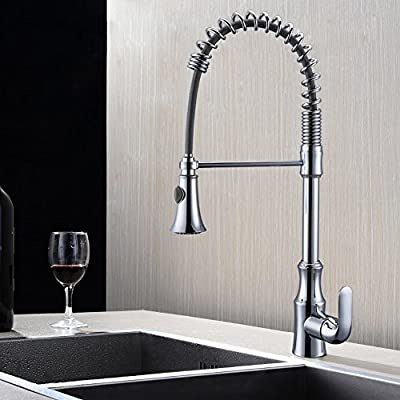 KES Pull Down Spring Faucet Kitchen Single Handle High Arc Kitchen Bar Sink Faucet Single Hole BRASS, L6936B-P