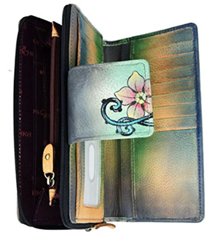 amp; Zip in Hand Organizer Cats Anuschka Leather Flap Painted Wonderland Fold Wallet Two Genuine qYw7XaU