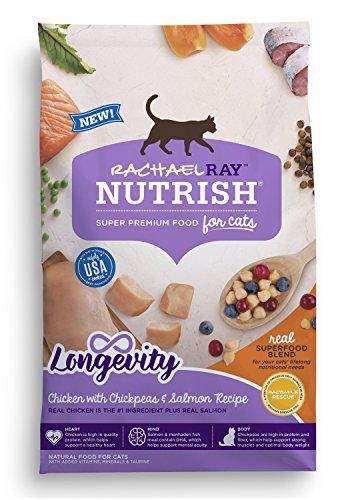 Rays Cat - Rachael Ray Nutrish Longevity Natural Dry Cat Food, Chicken with Chickpeas & Salmon Recipe, 14 lbs