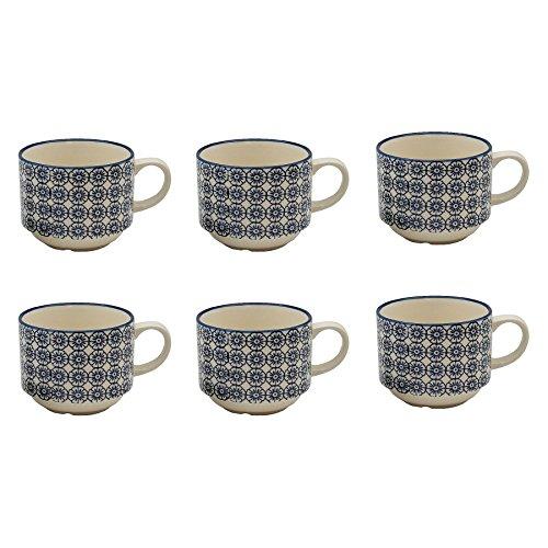Blue Mug Stacking (Patterned Porcelain Tea / Coffee Stacking Cups - Blue Flower Design - Pack of 6)