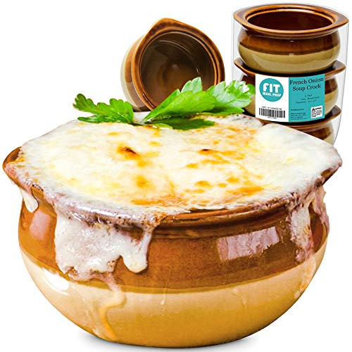 [6 Pack] 12 Oz French Onion Soup Crock - Brown and Ivory Premium Ceramic Porcelain Bowls, Microwave Oven Safe, For Soup, Stews, Chilis, Baked Beans, Mac and Cheese ()