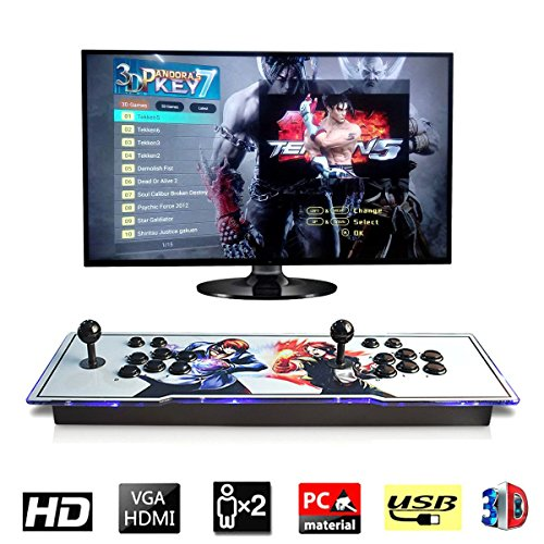 [2177 HD Retro Games] 3D Pandora's Key 7 Box Arcade Game Console 1920x1080 Full HD 2 Players Arcade Machine Support TF Card to Expand More Games for PC / Laptop / TV / PS Controller (King of Fighters)