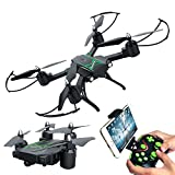 Portable Drones Camera for Beginner - Honor-Y 2.4GHz Remote Control 720P HD FPV Live Video and Headless Mode Foldable 6-Axis Gyro RC Quadcopter Drone ( Black )