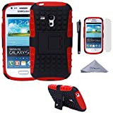 handy case samsung galaxy s3 mini - S3 Mini Case, Wisdompro [2 Piece in 1] Dual Layers [Heavy Duty] Hard Soft Hybrid Rugged Protective Case with [Foldable Kickstand] for Samsung Galaxy S3 Mini (NOT S3 Fit) - Red / Black