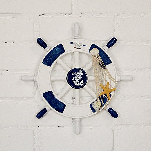 Shozafia Nautical Beach Wooden Boat Ship Steering Wheel Home Wall Decor - Light Gray 28cm Blue/White