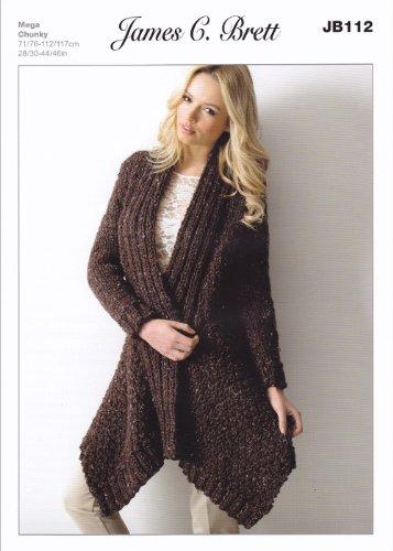 James Brett Mega Chunky Knitting Pattern - JB112 Ladies Long Cardigan