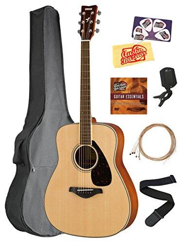 Yamaha FG820 Solid Top Folk Acoustic Guitar – Natural Bundle with Gig Bag, Tuner, Strings, Strap, Picks, Austin Bazaar Instructional DVD, and Polishing Cloth