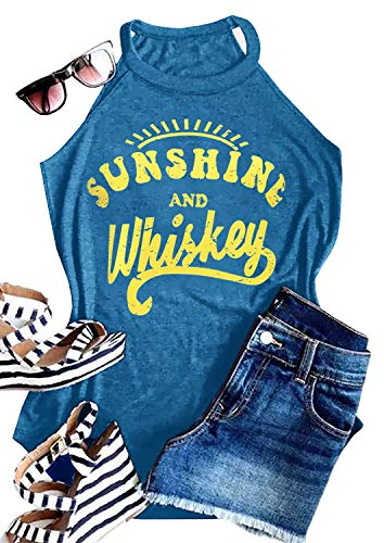 - IRISGOD Womens High Neck Tank Tops Summer Graphic Sunshine and Whiskey Sleeveless Country Drinking Shirts
