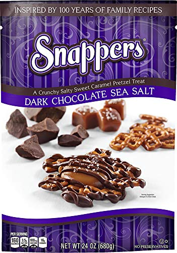 24oz Snappers Dark Chocolate Sea Salt (2-pack) (Tasty Pretzel Treats)
