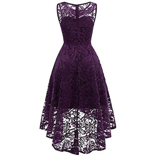Purple Floral Hi Sugarwewe Dress Women Lo Cocktail Formal Sleeveless Dark Swing Lace Vintage 1XE7ZgqE