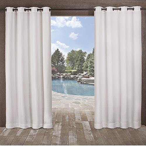 Exclusive Home Delano Heavyweight Textured Indoor/Outdoor Window Curtain Panel Pair with Grommet Top, 54x108, Winter White, 2 Piece (Barn Outdoor Curtains Pottery)