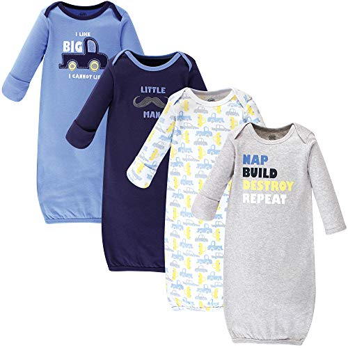 Luvable Friends Baby Cotton Gowns, Trucks 4-Pack, 0-6 Months
