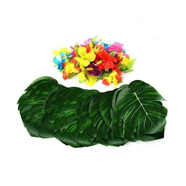 PovKeever Tropical Palm Leaves and Hibiscus Flowers 54 Pieces 8″, Simulation Imitation Leaf for Table Party Hawaiian Luau Party Jungle Beach Theme Party Decorations