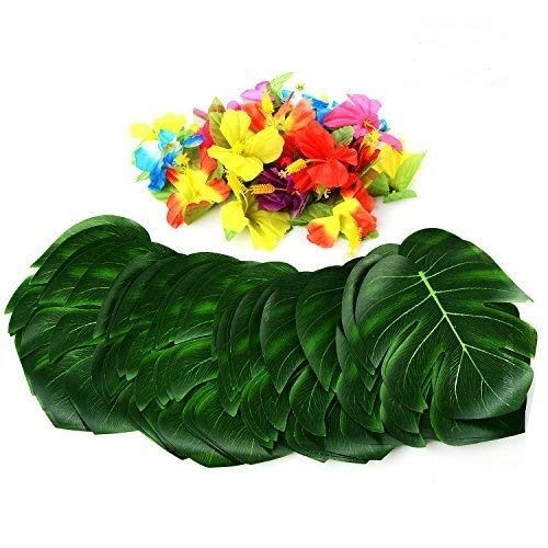 (PovKeever Tropical Palm Leaves and Hibiscus Flowers 54 Pieces 8