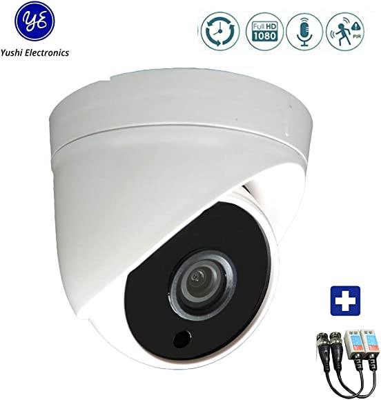 Yushielectronics Dome Security Camera HD 1080P Outdoor Indoor Surveillance, Hybrid 4-in-1 CVI TVI AHD CVBS, PIR Motion Sensor IR Night Vision Detection IP66 Metal Housing, with Video Pair balun CCTV