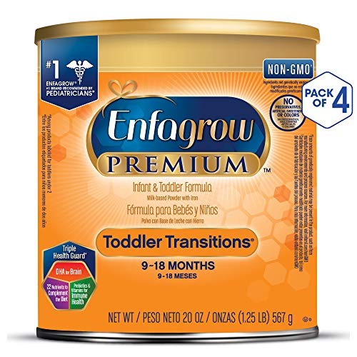 Enfagrow PREMIUM Toddler Transitions Baby Formula Milk Powder, 20 Ounce (Pack of 4), Omega 3 DHA, Iron