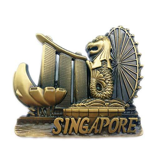Marina Bay Sands Merlion Singapore 3D Refrigerator Fridge Magnet Travel City Souvenir Collection Kitchen Decoration White Board Sticker Metal -