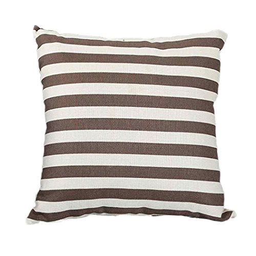 [Vibola Classic Geometric Decorative Cushion Cover 45x45CM (18x18IN) linen blend Wave Stripe Pillow Cover Pillow Case Home Decor (Coffee)] (45 Coffee Wave Art)