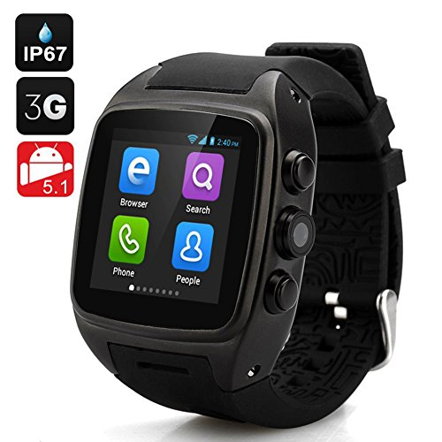 IMACWEAR M7 Waterproof Smart Watch Phone,Android 5.1 OS Dual-core CPU Sports Pedometer, Heart Rate Monitor, (Quick Grid Rear Window)