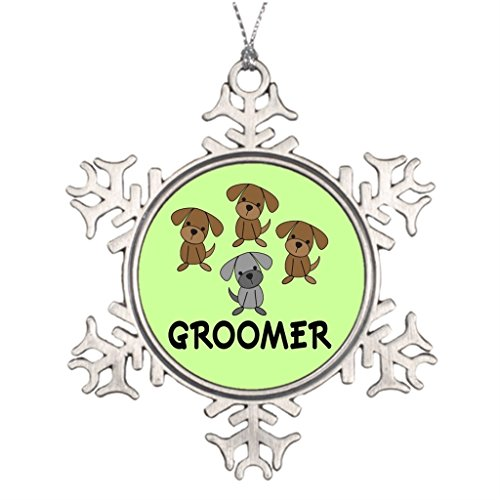 Pracy Xmas Trees Decorated Cute Dog Groomer Occupation Gift Grooming Pewter Christmas Snowflake Ornaments (Occupation Ornaments)