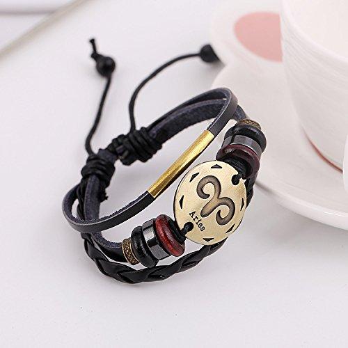 Price comparison product image Special foreign trade retro leather bracelet bracelet twelve constellations Aries men's bronze Woven Bracelet