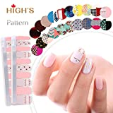 HIGH'S EXTRE ADHESION 20pcs Nail Art Transfer Decals Sticker Pattern Series The Cocktail Collection Manicure DIY Nail Polish Strips Wraps for Wedding,Party,Shopping,Travelling (Momery)