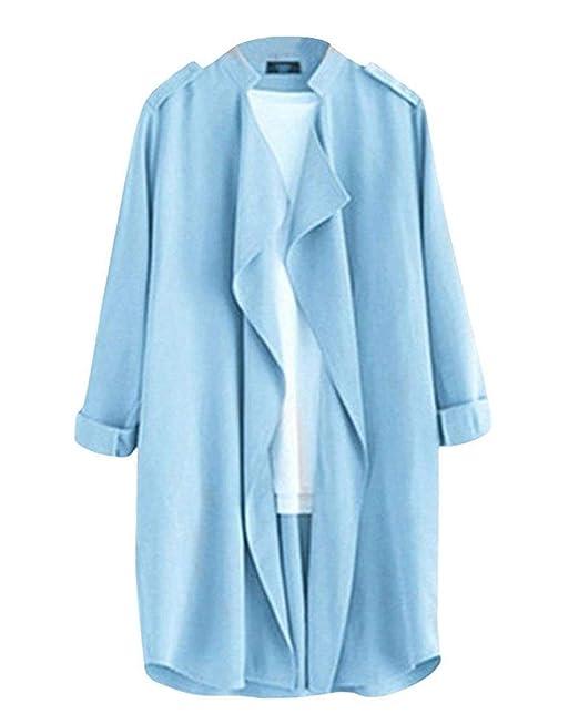 Gabardina Mujer Largos Fashion Informales Primavera Fiesta Irregular Abrigos Manga Larga Otoño Anchos Elegantes Unicolor Windbreaker Outerwear: Amazon.es: ...