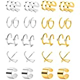 Tornito 10 Pairs Stainless Steel Ear Cuff Helix Cartilage Clip On Wrap Earrings Fake Nose Ring Non-Piercing Adjustable (A0: 10 Pairs)