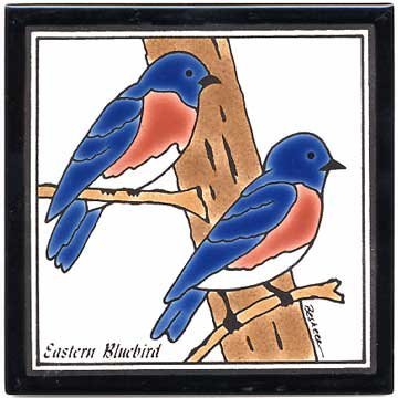 BLUE BIRD TILE, BLUE BIRD WALL PLAQUE, BLUE BIRD TRIVET