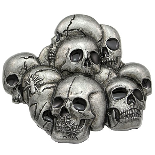 Men Vintage Silver Western Multi Skull Head Skeleton Spider Goth Biker Belt - Biker Buckle Belt Skull