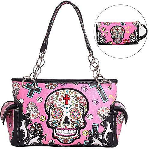 Shoulder Skull For Women Western Closure Zip Bags Carry Sugar Studded Purse Wristlet Concealed Handbag fuchsia Dearchuu With Handbags La EWFXqq