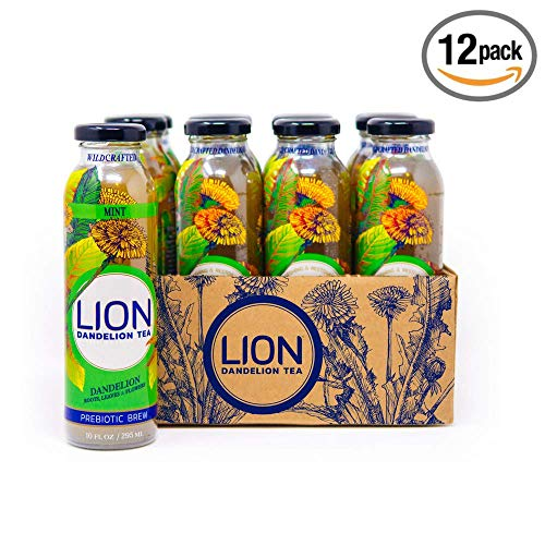 Dandelion Root Tea LION (Mint) Super Detox Tea Anti-inflammatory and Antioxidant Boost Immune System Delicious and Refreshing Bottled Tea Using Dandelion Leaf, Root