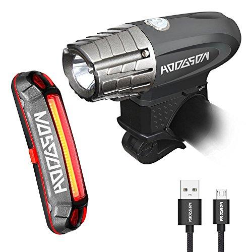 HODGSON Fahrradlicht USB Wiederaufladbare Fahrradbeleuchtung Frontlicht Super Hell 315 Lumen und Rücklicht LED, Spritzwassergeschützt und Einfach zu Installieren und Demontieren für Sicheres Radfahren