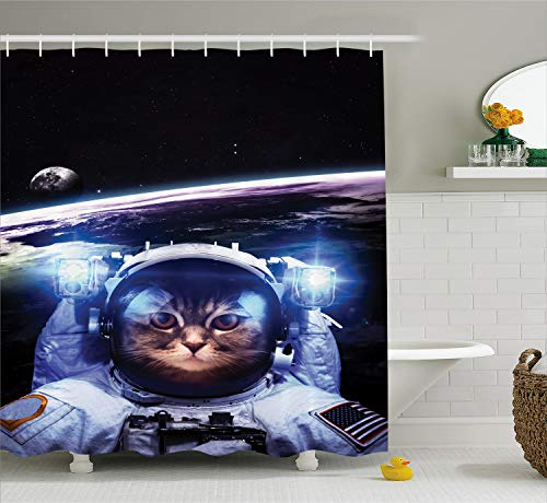 Ambesonne Cat Shower Curtain, Funny Astronaut Cat Above Earth in Outer Space Explorer Kitty Mission Humor Art Image, Cloth Fabric Bathroom Decor Set with Hooks, 70
