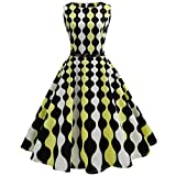 Women Dress Daoroka Sexy Ladies Vintage Plaid Sleeveless Bodycon Pleated A Line Swing Evening Party Prom Skirt With Belt Retro Casual High Waist Hepburn New Fashion Cute Sundress (L, Yellow)