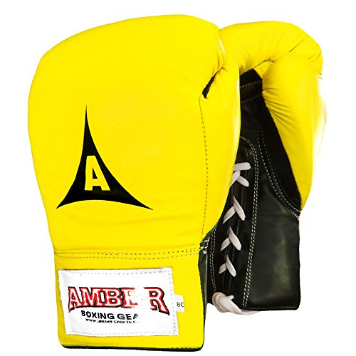 Amber Fight Gear Professional Boxing Laceup Training Gloves Yellow 8oz