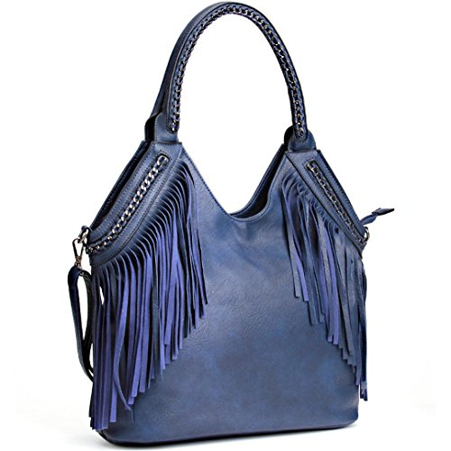 JOYSON Women Handbags Hobo Shoulder PU Leather Fashion Bag Tassels Blue (Blue Leather Handbags)