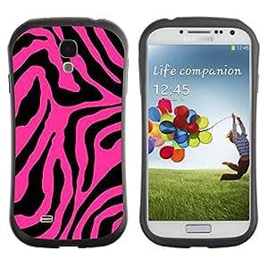 "Pulsar iFace Series Tpu silicona Carcasa Funda Case para SAMSUNG Galaxy S4 IV / i9500 / i9515 / i9505G / SGH-i337 , Rosa Negro Patrón de piel animal abstracta"""
