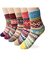 5 Pairs Womens Socks Wool Thermal Warm Knitting Ladies Socks for Winter, One Size, Mix 1