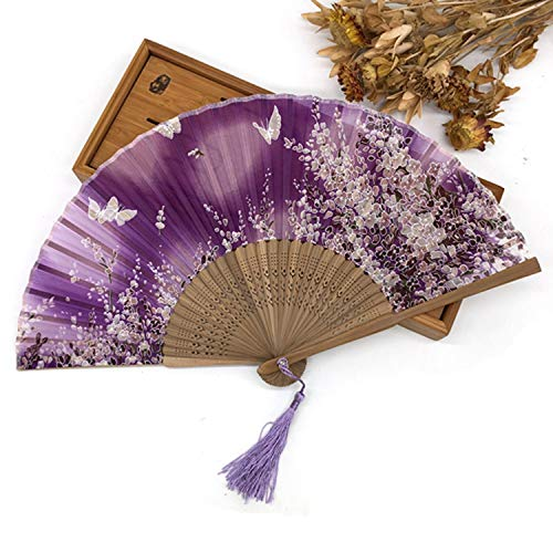 Charming-Rugosa 5Pcs Cherry Blossom Butterfly Printing Luxurious Silk Fold Hand Fan with Satin Tassel Decoration Mariage,2