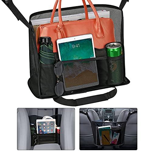 Car Net Pocket Handbag Holder Between Seats,Upgrade Car Organizer Handbag Purse Holder Large Capacity Strong Bearing Capacity Car Net Bag Barrier of Back Seat Pet Kids fit Most Vehicle Car Black