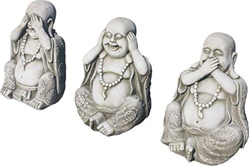 23cm Altura Peso Del Conjunto 12kg Conjunto De 3 Budas De Piedra Para Jardín Ver Oir Y Callar Jardín Decoración De Exterior