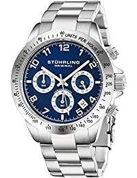 Blue Quartz Chronograph Mens Watch by Stuhrling Original. Solid Stainless Steel Watch Bracelet Watch Band Deployant...