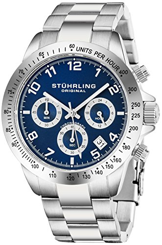 Blue Quartz Chronograph Mens Watch by Stuhrling Original. Solid Stainless Steel Watch Bracelet Watch Band Deployant Clasp. 50 Meter Water Resistant. Stylish Gift Watches for Men.