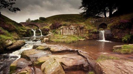 Bridge Over Split Stream Waterfalls Mouse Pad, Mousepad (10.2 X8.3 X 0.12 inches)-1430408